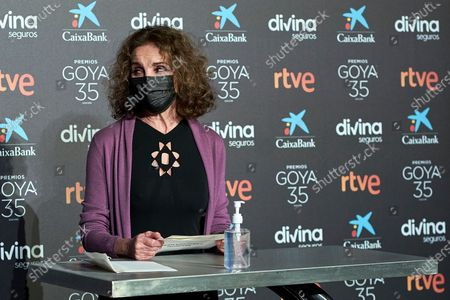 Stock Picture of Ana Belen attends to 35th Goya Candidates Lecture at Academy of Cinematographic Arts and Sciences