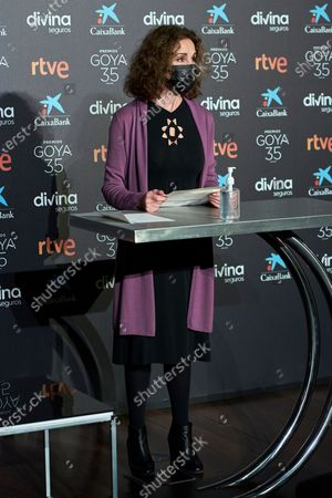 Stock Image of Ana Belen attends to 35th Goya Candidates Lecture at Academy of Cinematographic Arts and Sciences