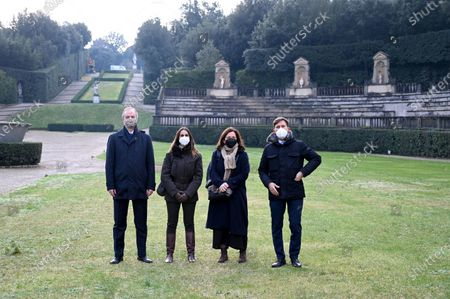 (L-R) Uffizi Galleries director Eike Schmidt, Boboli Gardens director Bianca Maria Landi, Cristina Giachi of the Tuscany region, and Florence Mayor Dario Nardella pose in the Boboli Gardens in Florence, Italy, 19 January 2021. The Boboli Gardens reopened after 77 days of closure due to Covid-19. Museums and cultural sites in 'yellow zone' regions are allowed to reopen to the public after being shut amid the coronavirus pandemic lockdown.