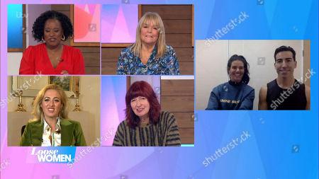 Stock Image of Charlene White, Linda Robson, Paris Fury, Janet Street-Porter, Rebekah Vardy and Andy Buchanan