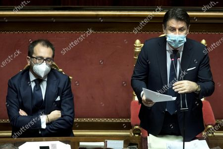 Italy's Prime Minister Giuseppe Conte (R), next to Italian Justice Minister Alfonso Bonafede (L), attends a confidence vote at the Italian Senate, in Rome, Italy, 19 January 2021. Following the resignation of two ministers in Conte's coalition government over a dispute on spending of EU funds during the pandemic, the Italian government is on the verge of another crisis.