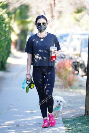 Stock Photo of Lucy Hale is seen walking her dog.