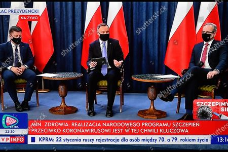 Editorial photo of Polish President Duda holds question and answer session broadcast over COVID-19 vaccination, Warsaw, Poland - 19 Jan 2021