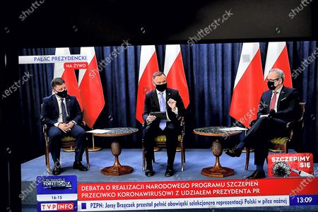 Editorial image of Polish President Duda holds question and answer session broadcast over COVID-19 vaccination, Warsaw, Poland - 19 Jan 2021