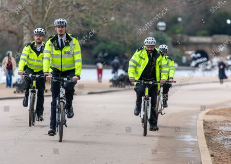 Editorial picture of Police keep up patrols in Hyde Park in London as Home Secretary warned that there will be tougher enforcement of covid-19 rules, London, UK - 19 Jan 2021