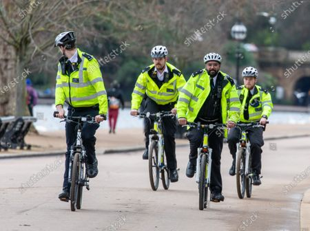 Editorial image of Police keep up patrols in Hyde Park in London as Home Secretary warned that there will be tougher enforcement of covid-19 rules, London, UK - 19 Jan 2021