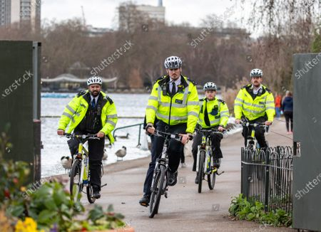 Stock Photo of Police keep up patrols in Hyde Park in London as Home Secretary Priti Patel warned that there will be tougher enforcement of Covid-19 rules. Today Health Secretary Matt Hancock announced that he will self-isolates after an alert on his Covid-19 app while cases continue to spread through the UK. Last week, Foreign Secretary Dominic Rabb said that lockdown could be lifted in March but with tier systems in place as total Covid-19 deaths reach over 88,000 this weekend.