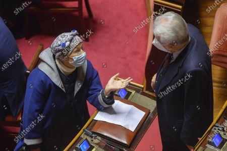 Senators Emma Bonino and Mario Monti attends a confidence vote at the italian Senate