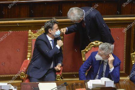 Italian Prime Minister Giuseppe Conte, Senator Mario Monti, Italian Minister of Defence Lorenzo Guerini attend a confidence vote at the italian Senate