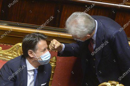 Stock Photo of Italian Prime Minister Giuseppe Conte, Senator Mario Monti, attend a confidence vote at the italian Senate