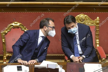 Italian Minister of Justioce Alfonso Bonafede, Italian Prime Minister Giuseppe Conte attend a confidence vote at the italian Senate