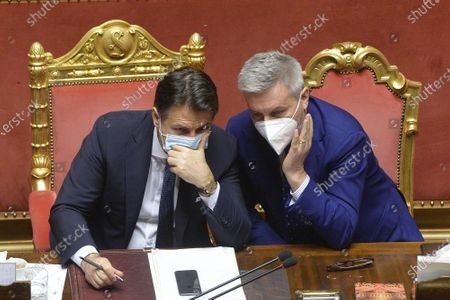 Italy's Prime Minister Giuseppe Conte with Minister of Defence Lorenzo Guerini attends a confidence vote at the Italian Senate