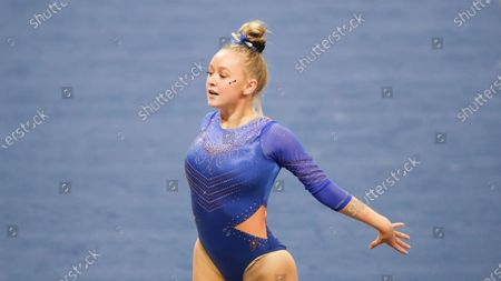 Boise State's Emily Morden competes on the floor during an NCAA gymnastics meet against Oregon State, in Corvallis, Ore
