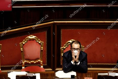 Italian Minister of Justice Alfonso Bonafede during a debate at the Senate prior to a confidence vote