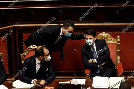 Italian Minister of Justice Alfonso Bonafede, Italian Minister of Foreign Affairs Luigi Di Maio, Italian Prime Minister Guseppe Conte during a debate at the Senate prior to a confidence vote