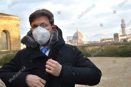 Stock Picture of Mayor of Florence Dario Nardella in the Boboli Gardens in Florence