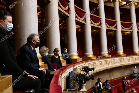 Stock Picture of Farncois Bayrou (C). Tribute to Marielle de Sarnez during the weekly session of questions to the government at the French National Assembly.