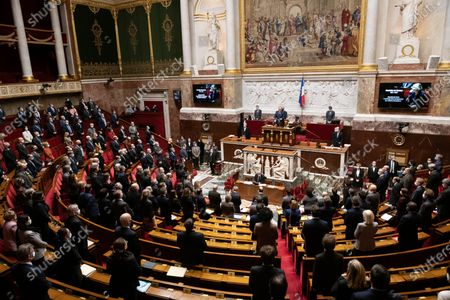 Stock Image of Tribute to Marielle de Sarnez during the weekly session of questions to the government at the French National Assembly.