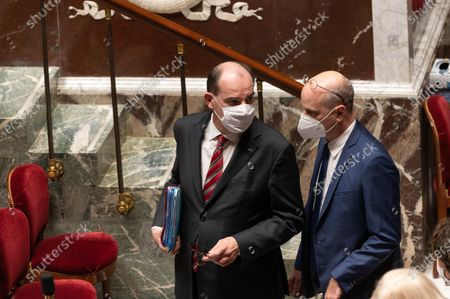 French Prime Minister Jean Castex and French Education, Youth and Sports Minister Jean-Michel Blanquer during the weekly session of questions to the government at the French National Assembly.