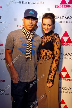 Leighton Meester and club owner Billy Dec on the red carpet before Leighton performs at The Underground on January 1, 2010 in Chicago, IL.