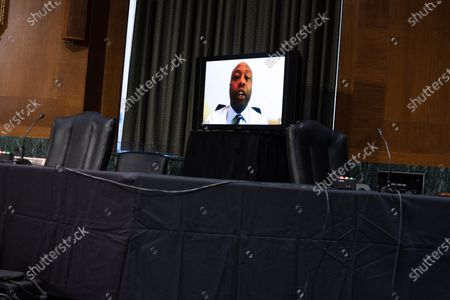 United States Senator Tim Scott (Republican of South Carolina), participates remotely in a Senate Finance Committee hearing for Janet L. Yellen, of California, President-elect Joe Biden's nominee for Treasury Secretary, in Washington DC, January 19th, 2021.