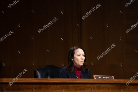 United States Senator Maria Cantwell (Democrat of Washington), listens during a Senate Finance Committee hearing for Janet L. Yellen, of California, President-elect Joe Biden's nominee for Treasury Secretary, in Washington DC, January 19th, 2021.