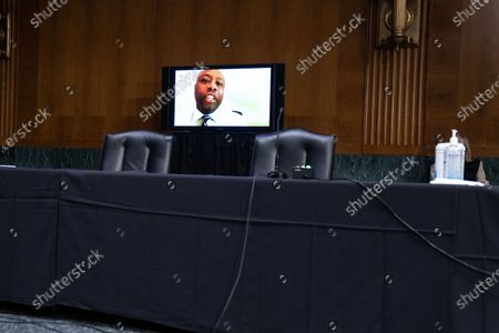 United States Senator Tim Scott (Republican of South Carolina), participates remotely during a Senate Finance Committee hearing for Janet L. Yellen, of California, President-elect Joe Biden's nominee for Treasury Secretary, in Washington DC, January 19th, 2021.