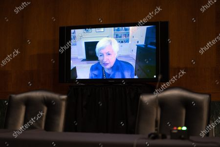 Janet Yellen, President-elect Joe Biden's nominee for Secretary of the Treasury, participates remotely in a Senate Finance Committee hearing in Washington DC, January 19th, 2021.