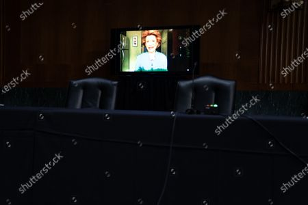 United States Senator Debbie Stabenow (Democrat of Michigan), participates remotely during a Senate Finance Committee hearing for Janet L. Yellen, of California, President-elect Joe Biden's nominee for Treasury Secretary, in Washington DC, January 19th, 2021.