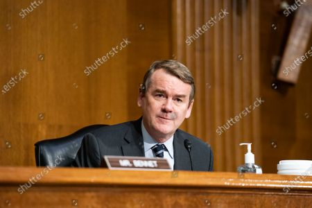 United States Senator Michael F. Bennet (Democrat of Colorado), speaks during a Senate Finance Committee hearing for Janet L. Yellen, of California, President-elect Joe Biden's nominee for Treasury Secretary, in Washington DC, January 19th, 2021.