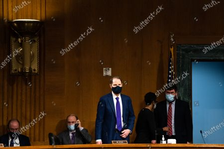 United States Senator Ron Wyden (Democrat of Oregon), Ranking Member, US Senate Committee on Finance, arrives to a Senate Finance Committee hearing for Janet L. Yellen, of California, President-elect Joe Biden's nominee for Treasury Secretary, in Washington DC, January 19th, 2021.