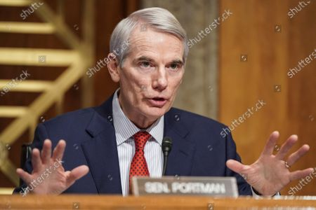 Senator Robert Portman (R-OH) questions Alejandro Mayorkas, nominee to be Secretary of Homeland Security, during a Senate Homeland Security and Governmental Affairs confirmation hearing on Capitol Hill in Washington, DC