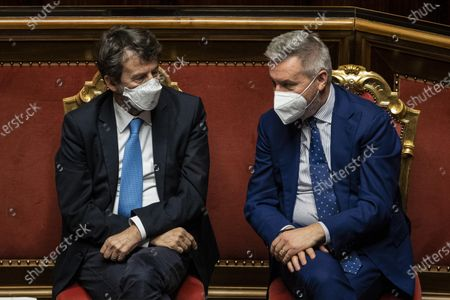 Stock Picture of Italian Cultural Affairss Dario Franceschini (L) and Italian Defense Minister Lorenzo Guerini during a debate in the Senate in Rome, Italy, 19 January 2021. Following the resignation of two ministers in Italian Prime Minister Conte's coalition government over a dispute on spending of EU funds during the pandemic, the Italian government is on the verge of another crisis.