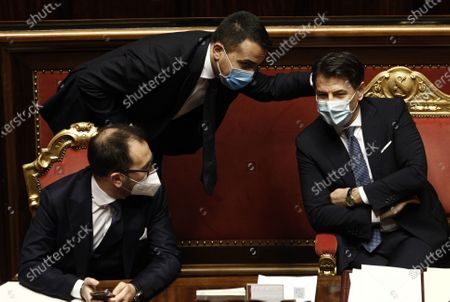 Stock Picture of Alfonso Bonafede, Luigi Di Maio and Giuseppe Conte