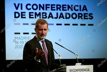 King Felipe VI attends the closure of the Conference of Ambassadors of Spain, Madrid