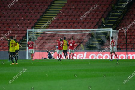 Troy Deeney of Watford scored past Goalkeeper Jack Walton of Barnsley FC