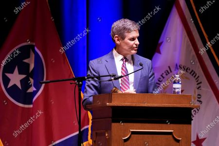 Tennessee Gov. Bill Lee speaks to a joint session of the legislature at the start of a special session on education, in Nashville, Tenn