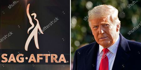 In this combination photo, the SAG-AFTRA logo appears on screen at the 26th annual Screen Actors Guild Awards on Jan. 19, 2020, in Los Angeles and President Donald Trump walks to board Marine One on the South Lawn of the White House on Jan. 12, 2021, in Washington. The Screen Actors Guild said, that the SAG-AFTRA board voted overwhelmingly that there is probable cause that Trump violated its guidelines for membership. If found guilty by a disciplinary committee, Trump faces expulsion