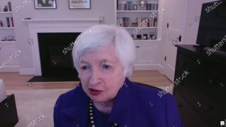 United States Secretary of the Treasury Janet L. Yellen testifies remotely during the US Senate Committee on Finance Confirmation hearing on her nomination to be US Secretary of the Treasury on Capitol Hill in Washington, DC.