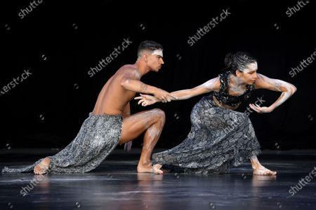 Bangarra Dance Theatre dancers Bradley Smith and Rika Hamaguchi perform Spirit: A Retrospective 2021 during a Sydney Festival media call in Sydney, Australia, 20 January 2021.