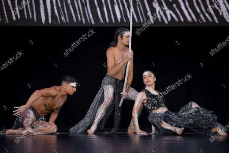 Bangarra Dance Theatre dancers Bradley Smith, Rika Hamaguchi and Kiarn Doyle (C) perform Spirit: A Retrospective 2021 during a Sydney Festival media call in Sydney, Australia, 20 January 2021.