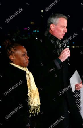 Editorial picture of Mayor Bill de Blasio delivers remarks for National Memorial to lives lost to COVID-19, New York, USA - 19 Jan 2021