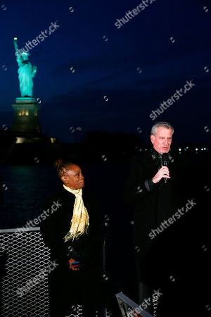 New York City Mayor Bill de Blasio and New York City First Lady Chirlane McCray deliver remarks near the Statue of Liberty for a national memorial to lives lost to COVID-19. Remarks will take place on ferry near Battery Park