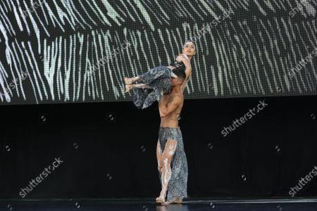 Bangarra Dance Theatre dancers Bradley Smith and Rika Hamaguchi