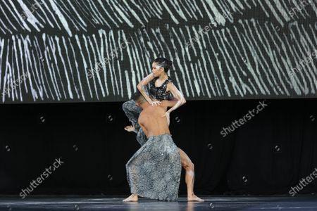 Stock Photo of Bangarra Dance Theatre dancers Bradley Smith and Rika Hamaguchi
