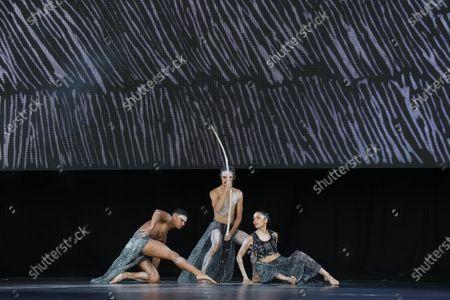 Bangarra Dance Theatre dancers Kiarn Doyle, Bradley Smith and Rika Hamaguchi
