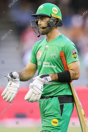 Glenn Maxwell of the Melbourne Stars is seen after being dismissed  during the Melbourne Renegades vs Melbourne Stars Twenty20 Big Bash League match at Marvel Stadium, Melbourne