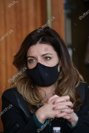 Coralie Dubost. French LREM Member of Parliament Coralie Dubost, the French Health Minister Olivier Veran's partner, during the French Junior Minister of Public Action and Accounts Olivier Dussopt's visit in Montpellier, Southern France