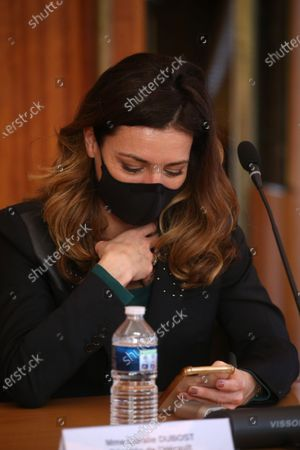 Stock Picture of Coralie Dubost. French LREM Member of Parliament Coralie Dubost, the French Health Minister Olivier Veran's partner, during the French Junior Minister of Public Action and Accounts Olivier Dussopt's visit in Montpellier, Southern France