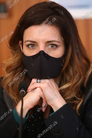 Stock Photo of Coralie Dubost. French LREM Member of Parliament Coralie Dubost, the French Health Minister Olivier Veran's partner, during the French Junior Minister of Public Action and Accounts Olivier Dussopt's visit in Montpellier, Southern France